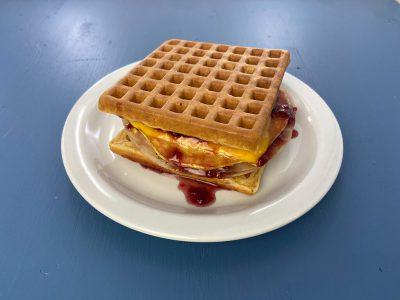 Maple Raspberry Turkey Waffle Breakfast Sandwich