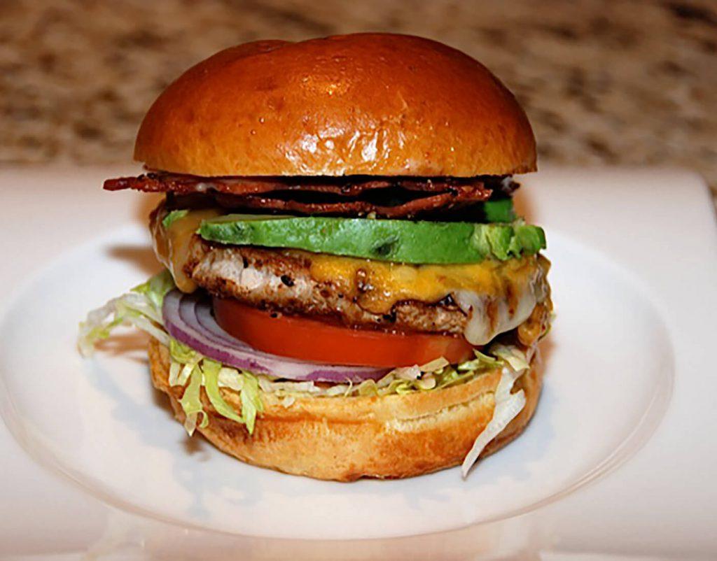 BLT Turkey Burger with Sliced Avocado