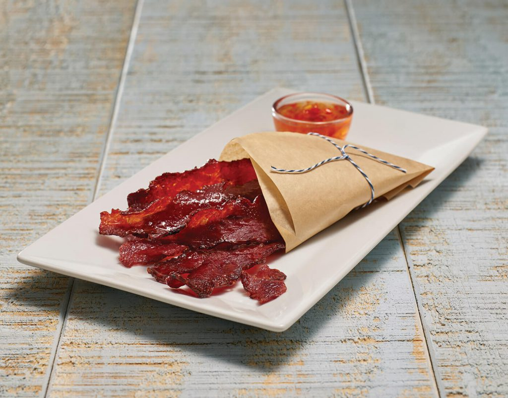 Honey Bourbon Peppered Candied Turkey Bacon