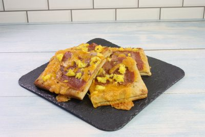 Turkey Bacon, Egg and Cheese Flatbread