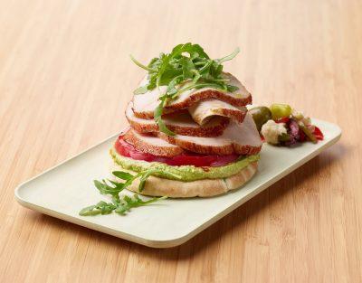 Open-Faced Turkey Pita Sandwich