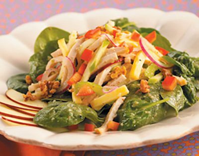 Spinach Salad with Smoked Turkey and Green Apple Vinaigrette