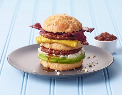 Triple Decker Towering Biscuit Breakfast Sandwich