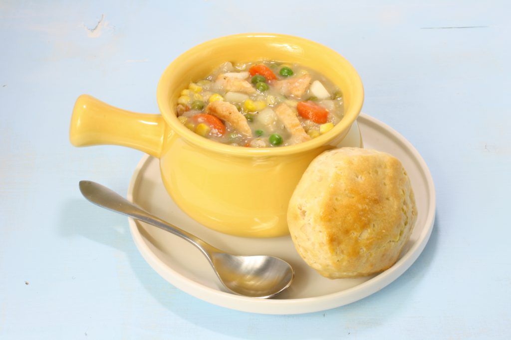 Turkey Pot Pie Soup with Biscuit