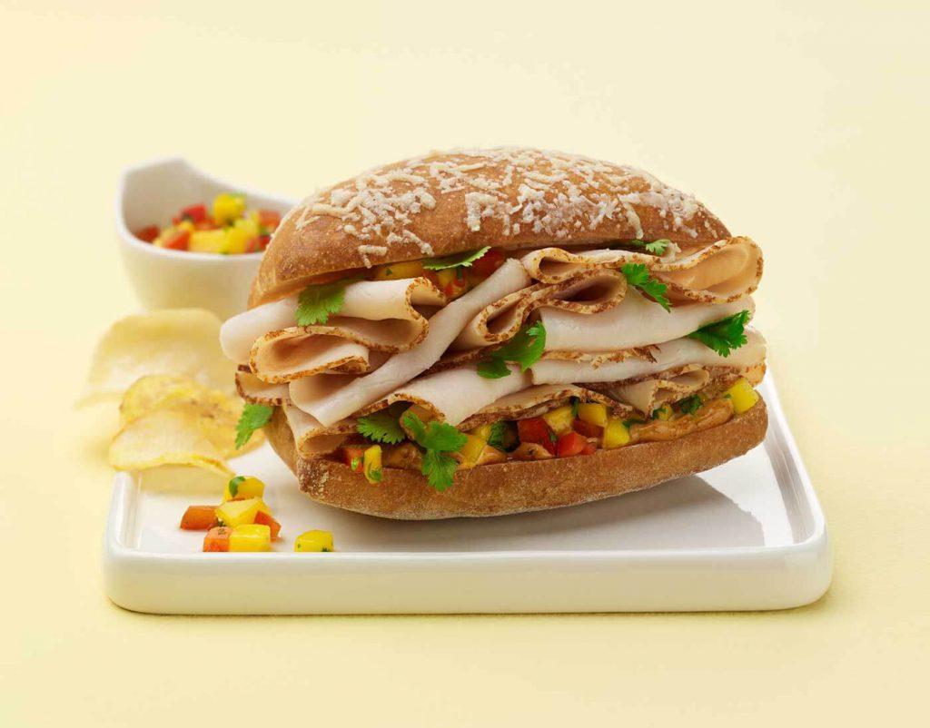Zesty Turkey Ciabatta Sandwich with Mango Salsa